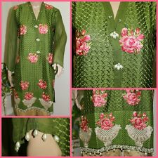 Pakistani Kurti Green Silk with Full Thread Embroidery, SMALL Size