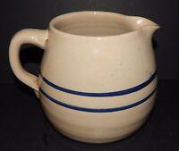 Stoneware Crockery Pottery Syrup Pitcher Glazed Double Cobalt Blue Bands Vintage