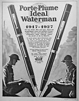 PUBLICITÉ DE PRESSE 1927 PORTE-PLUME IDEAL WATERMAN 1917-1927 - SOCIÉTÉ JIF
