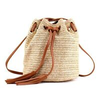 Borsa a tracolla in tessuto da donna borsa da spiaggia estiva con nappe tes F1K3