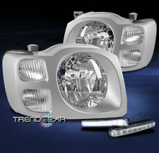 FOR 2002 2003 2004 XTERRA CHROME CRYSTAL STYLE HEADLIGHT LAMP +LED DRL KIT LH+RH