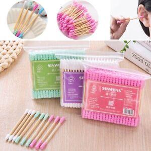 100PCS Cotton Swabs Q-tips Double Tip Wooden Sticks Applicator Ear Clean Tools