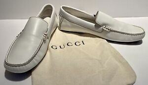 GUCCI Mens White Leather Loafers Driving Moccasins Shoes Red/Navy Stripe Bag Sz9