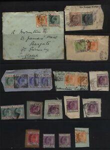 CYPRUS Edward VII stamp lot on letter pieces, Postmark interest
