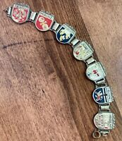 "Vintage German Shield Souvenir Bracelet - 7 German Cities - 7 1/4 ""- FREE SHIP"