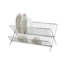TRAY HOLDER CHROME PLATED METAL DISH CUP MUG GLASS DRYER DRYING DRAINER RACK NEW