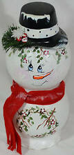 Glass Snowman Hand Painted Christmas Black Hat Holly Red Scarf 11 In. Tall