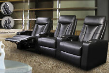 Pavillion Contemporary Leather Theater Seating Recliners Black Living Room Set