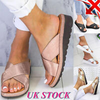 Womens Wedge Heel Slipper Sandals Ladies Summer Beach Mules Slider Shoes Size