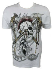 KONQUEST PLATINUM Men's Mohawk Skull with Axes Print T-Shirt White (KQTS027)