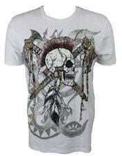 KONQUEST PLATINUM Men's Mohawk Skull with Axes Print T-Shirt White (KQTS027)