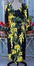 Dolce & Gabbana Yellow Flowers On Black Print Dress Size 42 Or US 6