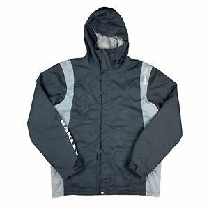 Oakley Men's Black Gray Spell Out Parka Puffer Coat Jacket Size XL Snow Hooded