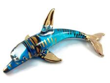 TINY CRYSTAL DOLPHIN HAND BLOWN CLEAR GLASS ART FIGURINE ANIMAL COLLECTION