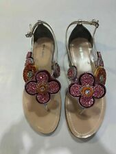 New Miu Miu silver pink metal sandals, Size EU 36.5