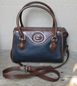 "Vintage Dooney & Bourke Navy Pebble Leather Satchel/Crossbody   4"" x 7"" x 10"""