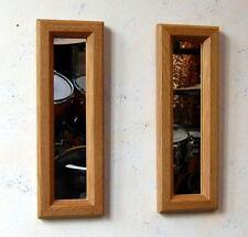 Pair Rectangular Wooden English Oak Mirrors 40cm long Hand Made
