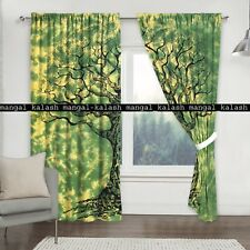 Indian green tree cotton mandala window valances drape hanging home curtains set