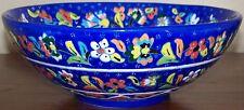 "Iznik Raised Tulip, Carnation & Daisy Pattern Blue 10"" Turkish Ceramic Bowl"