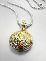 LUXURIOUS 18kt Gold Plated Hammered Pendant 18kt White Gold Box Chain Necklace