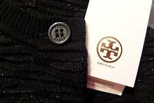 New $350 TORY BURCH Black Lurex Metallic Cardigan M Wool Viscose Sweater 8 10