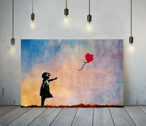 BANKSY SUNSET BALLOON GIRL -FRAMED CANVAS WALL ART GRAFFITI PRINT- MULTICOLOURED