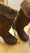 Dansko Kassidy Lace Up 40 Fur Lined Tall Leather Brown Winter Boot CLEAN 9.5 US