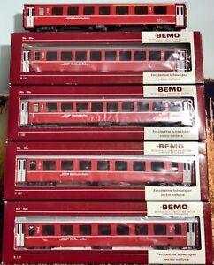 5 x Bemo Rhb Personenwagen mit OVP