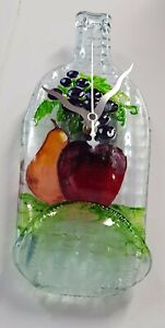 Bottle Wall Clock ART Glass RECYCLED,Beautiful Art Glass,Handmade,Wall Hanging