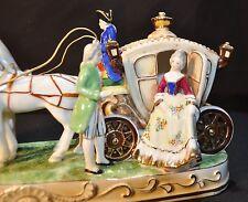 Vintage Porcelain Horse Drawn Carriage Figurine Maruyama Occupied Japan Figurine