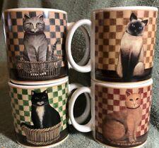 Set of 4 Oneida Country Kitties Stoneware Cat Coffee Cup Mug~David Carter Brown