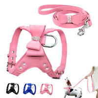 Soft Suede Leather Dog Harness and Leash set for Small Medium Large Dogs Pink