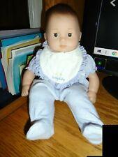 Bitty Baby Doll American Girl Brown Hair & Eyes Lovely with Purple PJ's Bib