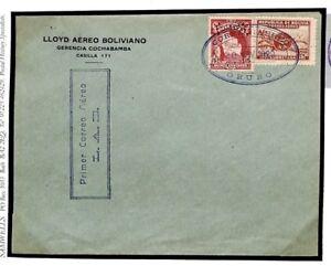 Bolivia Cover Air Mail *LLOYD AERO* 3 Violet Marks SUPER STRIKES 1929 Z173