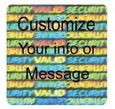 "100 CUSTOM PRINT  Hologram Security 1"" Square SVAG Label Sticker Seals"