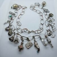 """Vintage Sterling Silver 36"""" Chain Charm Necklace with 21 Vintage Charms"""