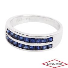 Estate 1.35ct Sapphire 18K White Gold Band Ring NR
