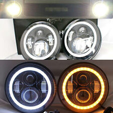 "LED WHITE Halo 7"" Headlights AMBER Toyota Landcruiser HZJ75 75 78 79 series JTX"