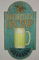 "Budweiser On Tap~Vintage Large Embossed  1970s Bar/Man Cave Sign~32""x 17"""