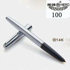 Original HERO 100 Classic Series Steel & Black Golden Fine Nib Fountain Pen