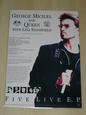 George Michael -  Queen - Five Live E.P.Laminated Promo Poster - Freddie Mercury