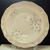 """Mikasa Country Home Sun Breezes Vegetable Bowl 9.75"""" Beige Stoneware Pink Floral"""