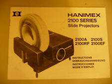 Instructions slide projector HANIMEX 2100 2100A 2100S 2100Rf 2100EF  CD/EMail