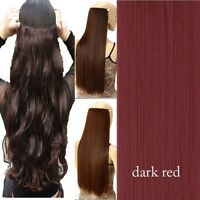 100% Thick 23-26 Inch 3/4 Full Head Clip In Hair Extensions Brown/Black/Blonde l