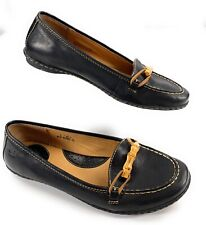 Børn Black Leather Bamboo Horsebit Moc Toe Flats Shoes Women's 9M US, 40.5 EUR