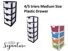 4 Tier Medium Drawer Storage Organiser Plastic level Office Box Cabinet Coloured