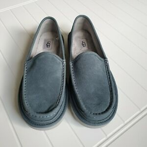 UGG MEN DEX  1103901 SUEDE WOOL INDOOR / OUTDOOR SLIPPERS  SIZE 9.5 SALTY BLUE