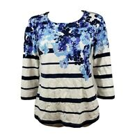 COLDWATER CREEK White Blue Floral Striped Top Womens Size XS (4-6)
