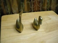 "Duck Geese Pair Brass Metal Vintage Not solid  6"" X 3"" And  4"" X 3"""