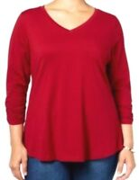 Style & Co Plus Size 0X Red 3/4 Sleeve V-Neck Stretch Knit Top Womens fits10W12W